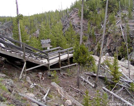 Firehole swimming area stairs in Yellowstone National Park, Wyoming 2011