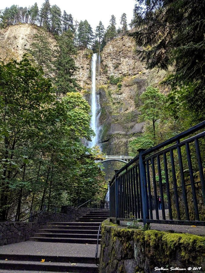 The stairway leading to Multnomah Falls, Oregon 10October2019
