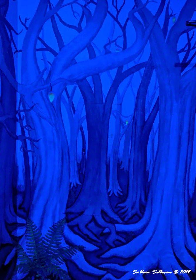Secret blue views in hidden room at McMenamins, Bend, Oregon 19 January 2020