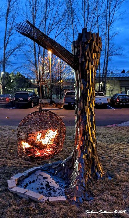 Fire pits at WinterFest in Bend, Oregon 14February2020