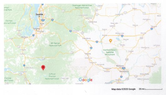 Google map showing location of Mount St. Helens & Royal City, Washington