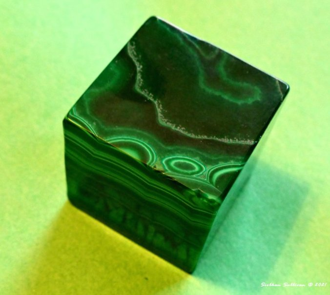 a green stone cube January 2021