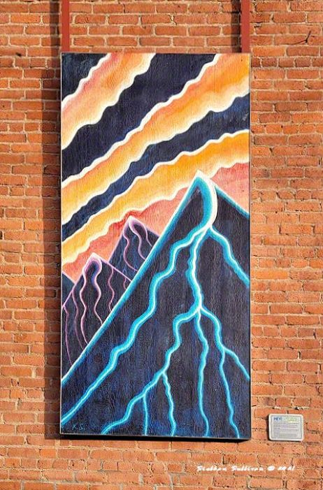 Alley art -Sunset Over Sisters by artist, Kevin Schwarting