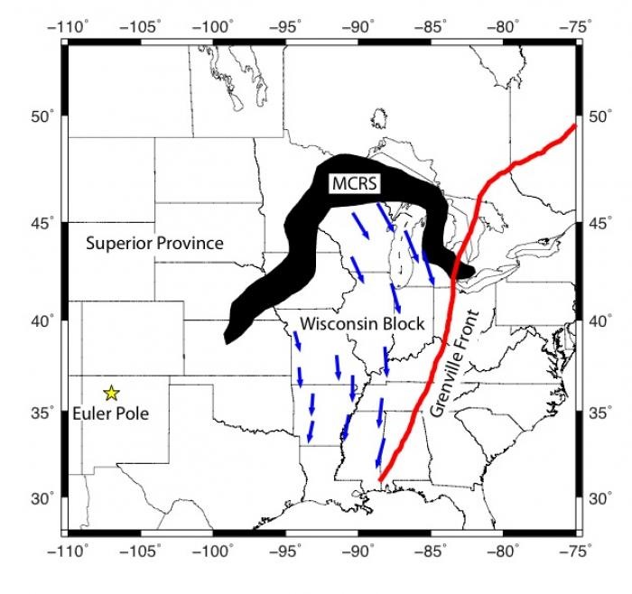 Fig 5. Mid Continental Rift System (MCRS) rotation movement & direction towards the New Madrid Seismic Zone. The direction of the blue arrows show the historical intraplate pressure & movement from the southern edge of the Midcontinental Rift System (MCRS) towards the New Madrid Seismic Zone. The MCRS is estimated to be 1.1 Billion years old.