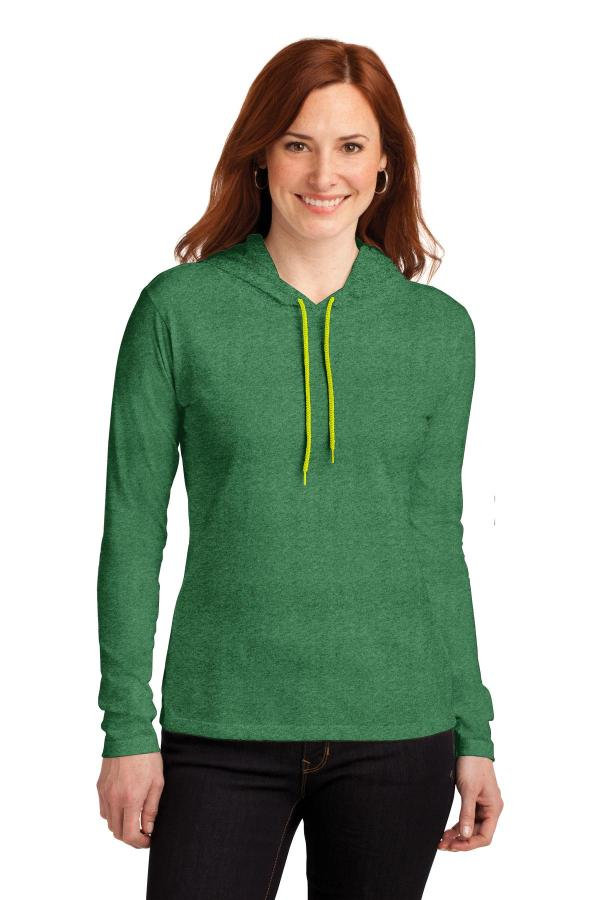 Anvil Ladies 100% Combed Ring Spun Cotton Long Sleeve Hooded T-Shirt. 887L