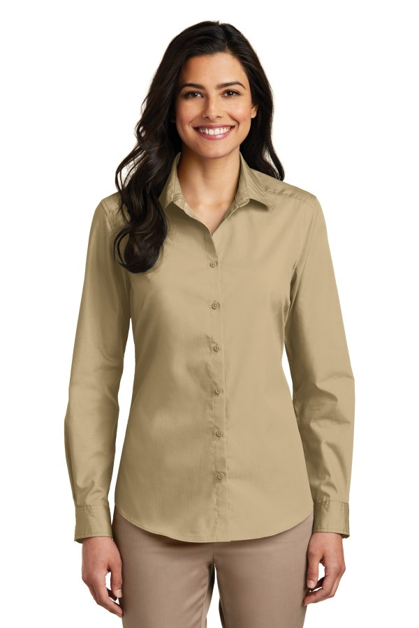 Port Authority Ladies Long Sleeve Carefree Poplin Shirt. LW100