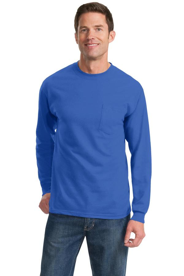 Port & Company Tall Long Sleeve Essential Pocket Tee. PC61LSPT