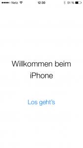 iOS 8 Willlkommens-Bildschirm auf dem iPhone