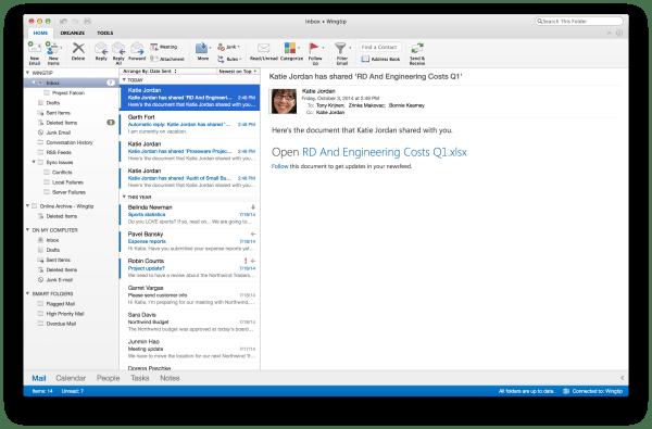 Outlook Version 2014 für Mac Screenshot Office 365. Quelle: Microsoft