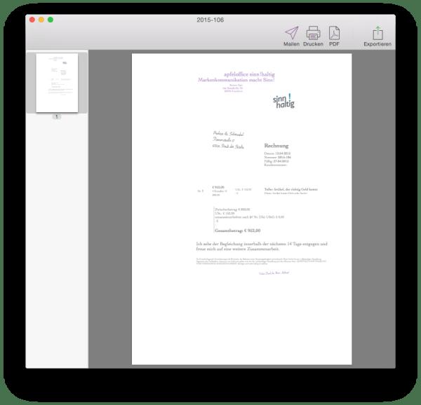 Vorlagen-Design in Rechnungsprogramm Bill 2 für Mac