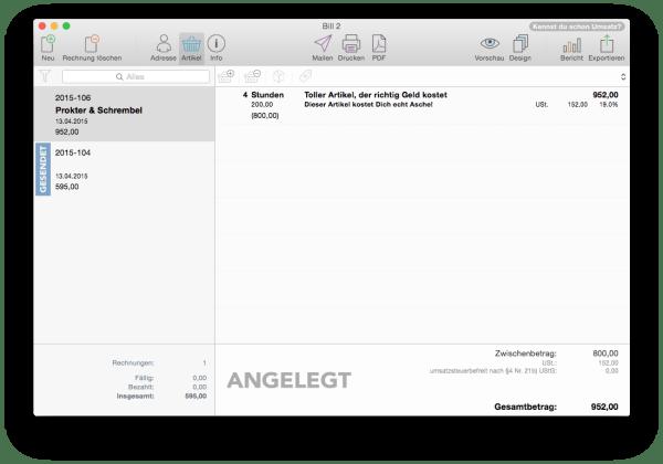Rechnungen mit Bill 2 auf dem Mac erstellen