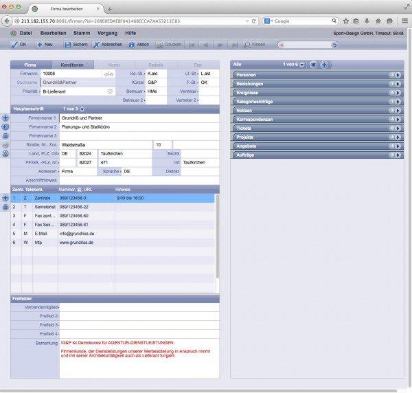 TOPIX WebSolution: Firmendatensatz