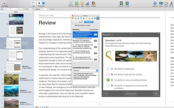Screenshot iBooks Author. Quelle: Apple
