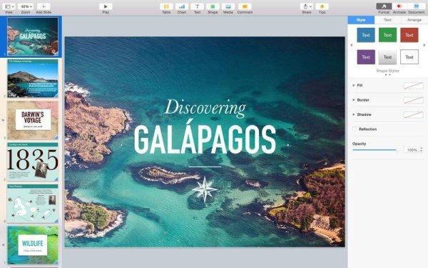 Keynote iWork Screenshot. Quelle: Apple