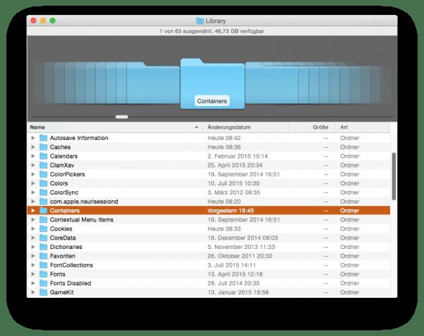 Der Ordner Containers in der Library unter OS X Yosemite