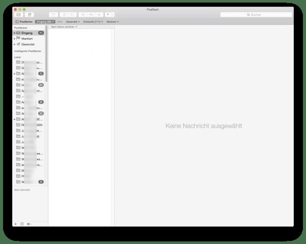 """Fehler: Apple Mail zeigt keine E-Mails an, obwohl im Postfach """"Eingang"""" 90 E-Mails liegen sollen"""