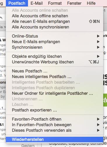 Postfach wiederherstellen in Apple Mail entspricht einer Datenbank-Reorganisation