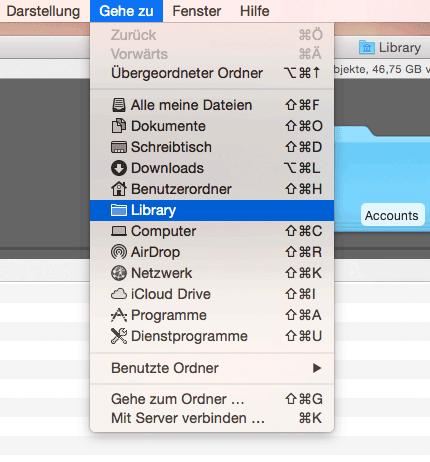 """Den Ordner Library finden Sie unter Mac OS X mit einer Tastenkombination und dem Finder-Menü """"Gehe zu"""""""