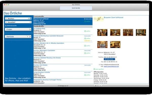 Screenshot Das Örtliche App. Quelle: Mac App Store
