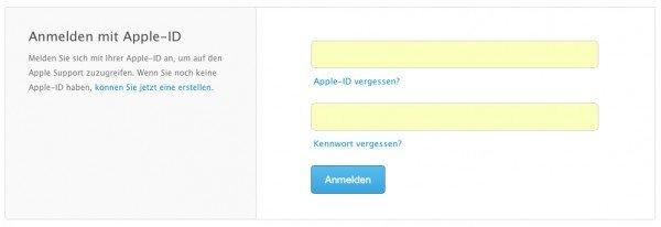 Mit der Apple ID bei Apple anmelden