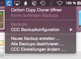 CCC über die Menüleiste des OS X steuern