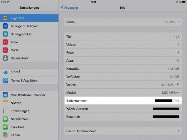 """Systeminformationen inkl. Seriennummer am iPad in der App """"Einstellungen"""""""