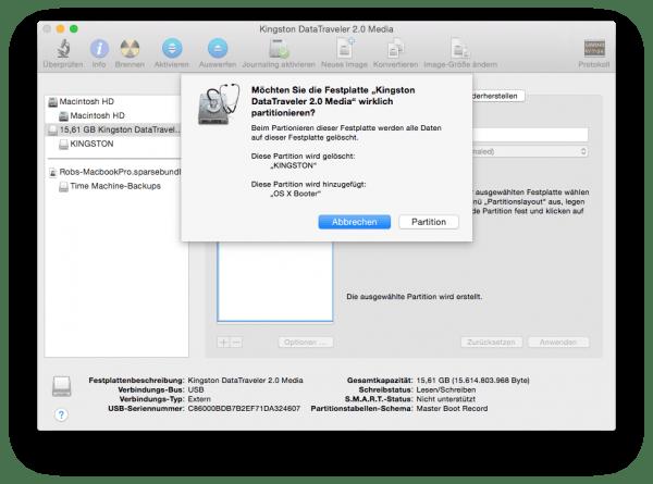 PC Festplatte Mac-fähig machen – Warnhinweis zum Löschen aller Daten auf der Festplatte durch das partitionieren – lesen und nachdenken, bevor man klickt!