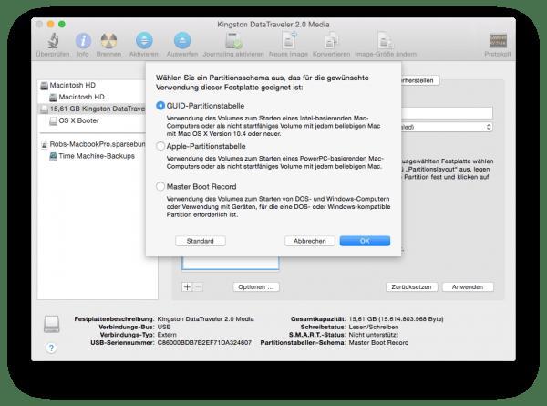 Die GUID-Partitionstabelle macht Festplatten und USB-Sticks am Mac bootfähig