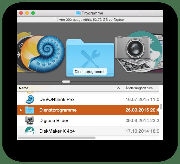 Der Ordner Dienstprogramme im Ordner Programme enthält das Festplattendienstprogramm für OS X