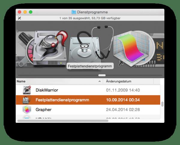 Das Festplattendienstprogramm für OS X im Finder