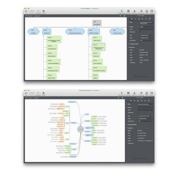 Screenshots von Merlin Project. Quelle: ProjectWizards GmbH