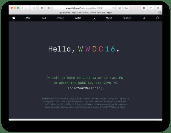 Apple Webseite lädt zur WWDC 2016. Quelle: Apple