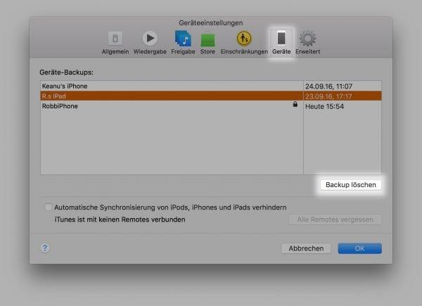 iPhone- oder iPad-Backups aus iTunes heraus vom Mac Startvolume löschen