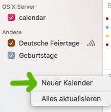 Einen neuen Kalender per Rechtsklick in die Seitenleiste der Kalender-App erstellen