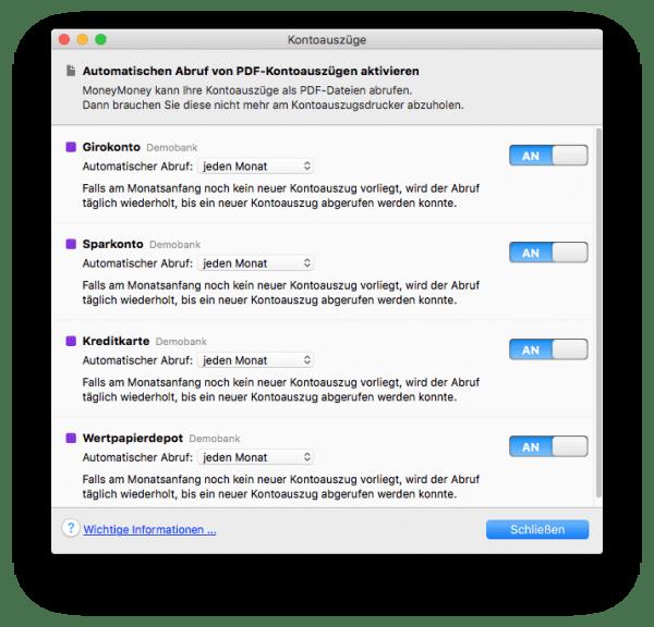 Automatischer Abruf der PDF-Kontoauszüge auch für Banken ohne HBCI in MoneyMoney am Mac