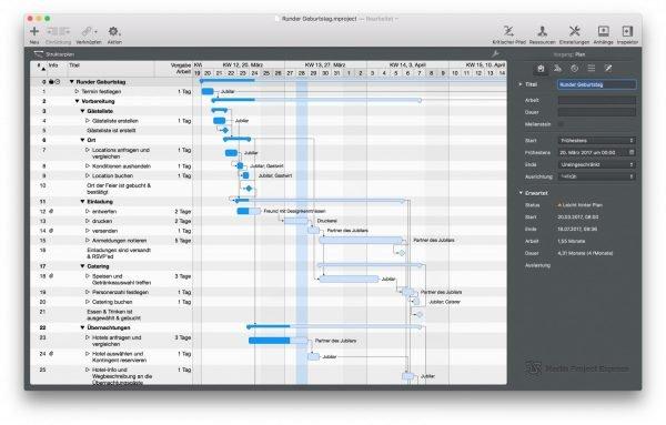 Screeshot Mac App Merlin Project Express – Der zeitliche Ablauf der Vorbereitung einer Geburtstagsfeier gibt Aufschluss darüber, was man bis wann organisiert haben muss