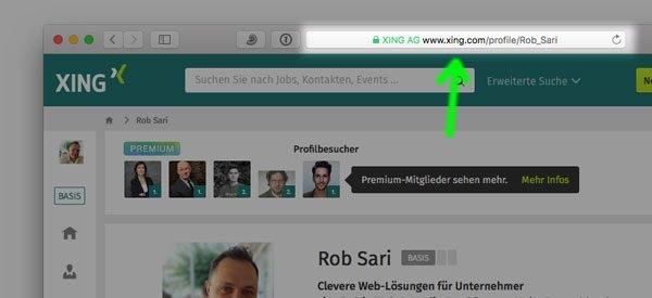 Die eigene XING Profil URL herausfinden und kopieren – Social Media Marketing am Mac