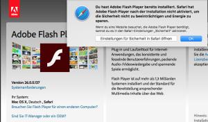 Flash wird aus Sicherheits- und Perfomance-Gründen am Mac standardmässig deaktiviert