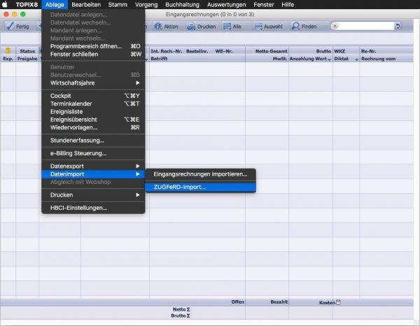 Import einer ZUGFeRD Rechnung am Mac mit einem Klick