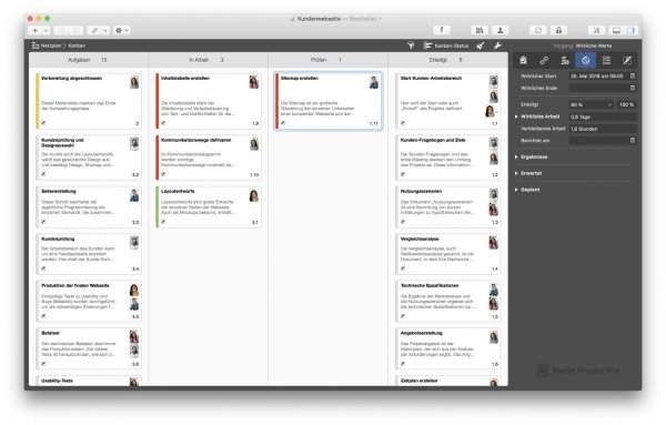 Kanban-Tafel in der Merlin Project Pro Public Beta