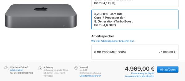 Der neue Mac mini 2018 ist unverhältnismäßig teuer. Quelle: Apple