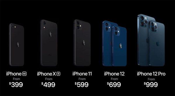 Apple iPhone Modelle 2020 ©Bild: Screenshot der Apple Keynote vom 13.10.2020