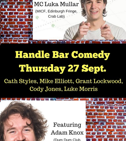 Handle Bar Comedy on Thursday 27 Sept.