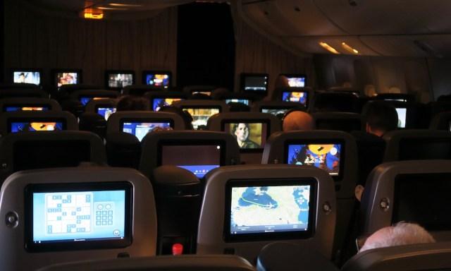 Abendstimmung im Flugzeug China Airlines von Innen