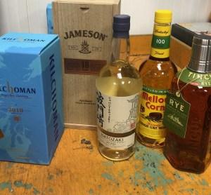 Kilchoman, Jameson 18 year, Hatozaki, Mellow Corn, Tin Cup Rye
