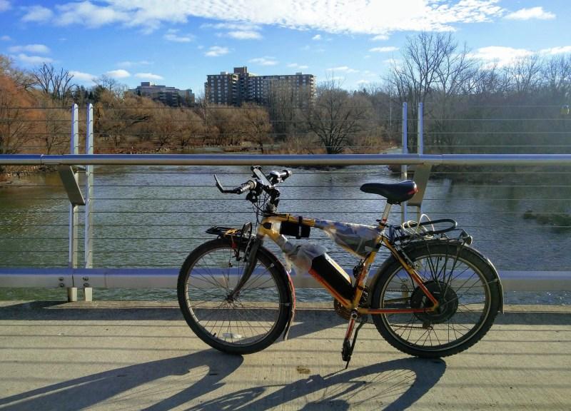 Ben's DIY ebike on a bridge in London, Ontario