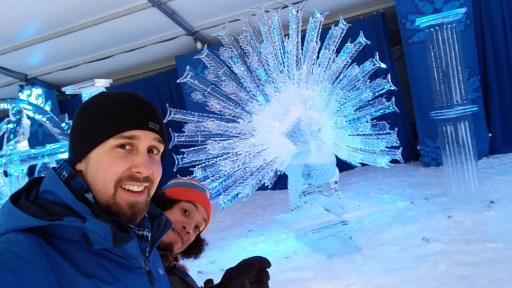 Ben and Matt at Winterlude in Ottawa in front of an amazingly detailed ice sculpture - February 7, 2017
