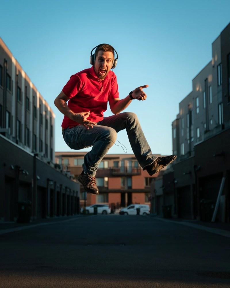 Ben's jumping headphone alley shot