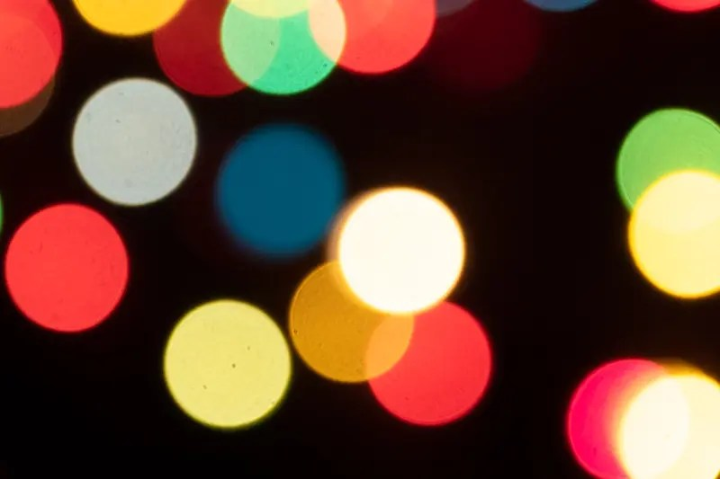 multicoloured string lights, out of focus