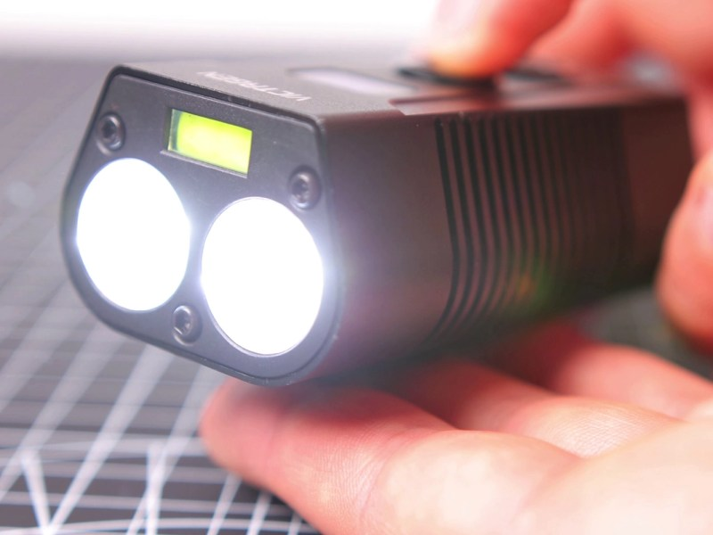 Close up of the Victagen front light with the main light turned on
